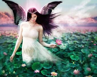 Fairy tale Angel Art Print, Lake Goddess Blue Green Pink Fantasy Portrait 'Lotus Faerie' Pink Flower Fae with Dark Hair and Swan Wings