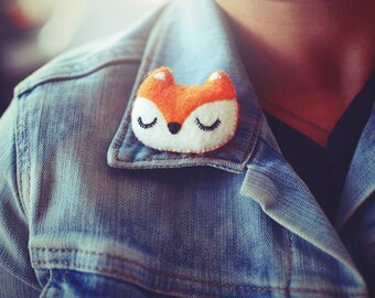 Fox Brooch - Felt Animal Accessory- Woodland Animal Cute Plush Pin Brooch - Woodland Jewelry - Christmas Gift
