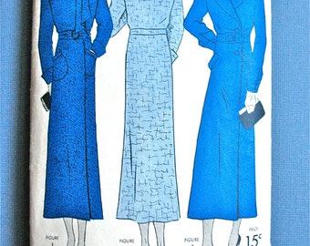 1930s Vintage Simplicity 1166 Coat in Three Styles Sewing Pattern  Bust 36 inches Hip 39