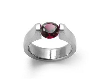 Garnet Tension Set Ring Stainless Steel