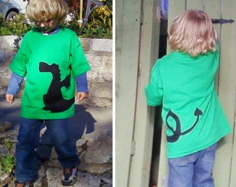 Dragon Green Tshirt Wrap Around Fabric Applique Youth Child Kids XSmall 4 5, Small 6 7, Medium 8 10, Large 12 14, XLarge 16 18