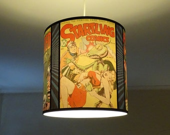Comic Covers pendant lamp shade lampshade - lighting, comic book, geek decor, drum lamp shade, yellow lamp shade, pin, up, dorm room