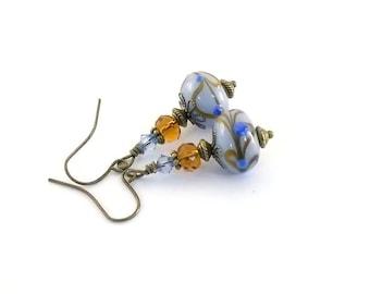 Blue Lampwork Earrings - Brown and Topaz Earrings - Swarovski Earrings - Brass Earrings - Antique Brass Earrings - Wire Earrings - Small