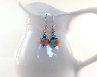 Turquoise and Orange Lampwork Earrings - Lampwork Earrings - Swarovski Earrings - Silver Earrings - Wire Earrings - Small Earrings - E026