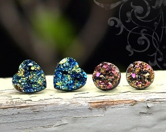 2 Pair Set Glitter Stud Earrings, 12mm Hearts in Blue-Green-Black multi, 10mm Rounds in Pink-Gold Multi, Titanium Posts