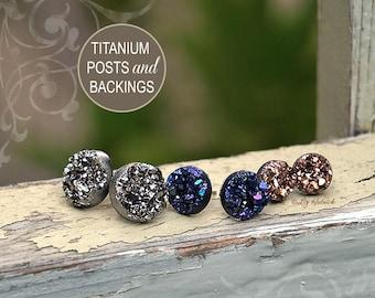 Faux Druzy Stud Titanium Earrings - 3 Pair Set Drusy Glitter Posts. Galaxy Collection. Dark Silver, Blue-Purple Multi, Rose Bronze
