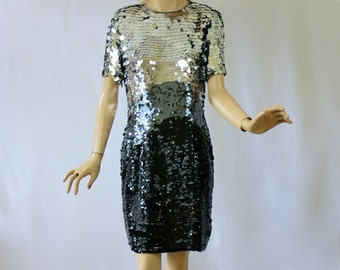 Vintage 80s Oleg Cassini Cocktail Dress Black Silk Dress w Silver to Black Pallietes Sequins Bust 38