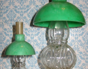 Pair of Vintage Oil Lamp Candy Containers or Perfume Bottles with Green Shades
