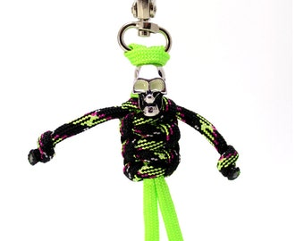 Glow in the Dark Zipper Zombie, Skeleton Paracord Buddy, Paracord Zipper Pull, Paracord Keychain, Glow in the Dark Eyes