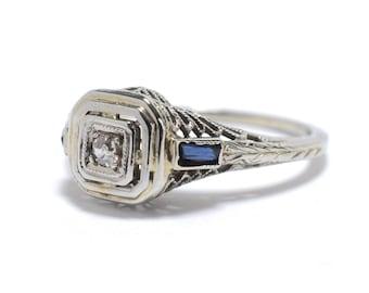 Art Deco Diamond, Sapphire  and 18K White Gold Filigree Ring - Size 3.75