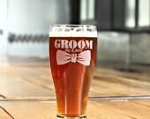 Groomsmen Beer Mug, Personalized Beer Glasses, Laser Etched 19.5oz, Custom wedding favors, Best Man, Groomsman, Father of the Bride Gift