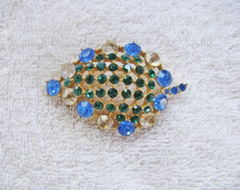 Vintage Blue and Green Rhinestone Leaf Brooch Pin (B-3-1)