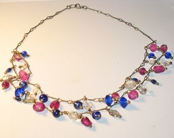 Vintage Retro Blue and Pink Art Glass Dangling Necklace (N-1-2)