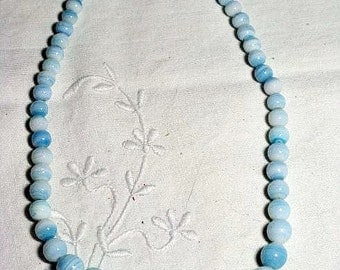 Vintage Baby Blue Glass Bead Necklace (N-1-2)