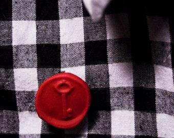 key wax seal lapel pin