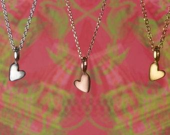 Heart Pendant Solid Gold Extra Tiny Heart Necklace 14k solid gold Heart Charm Necklace Dainty rose gold white gold heart pendant