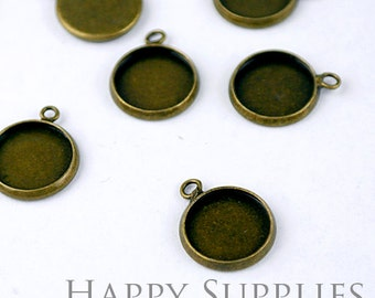 10Pcs 12mm Antique Bronze Brass Cabochon Pendant Base with A Loop (GD131-B)