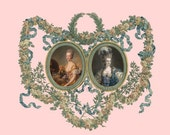 antique french portrait Marie Antoinette queen of France ornate roses frame DIGITAL DOWNLOAD