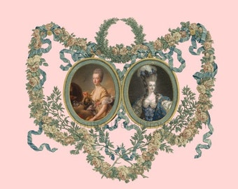 antique french portrait Marie Antoinette queen of France ornate roses frame DIGITAL DOWNLOAD