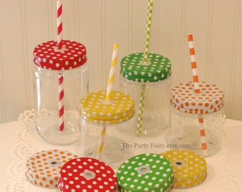 Mason Jars, 6 Plastic Mason Jar with Polka Dot Jar Lids, Mason Jar Cups, Mason Jars with Lids, Wedding Favors, Plastic Mason Cups