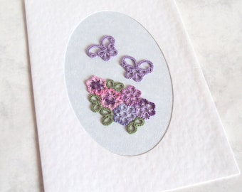 Tatted Butterflies , Flowers Greeting Card - Pink , Purple, Green - Handmade - Blank Inside