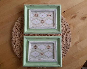Mint Picture Frames, Shabby Chic Mint and White Hand Painted Picture Frames Cute Nursery Frames, Mint Frames