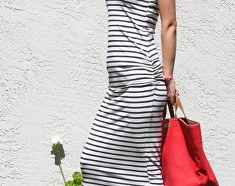 Striped Sleeveless Midi Dress with Ruching-Navy and White Pima Cotton