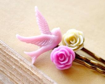 Bird Bobby Pins Set / Mauve and Ivory Rose Hair Pins, Romantic Flower Hair Pins, Victorian Hair Pins, Hairpiece Set, Bobbies Gifts under 10