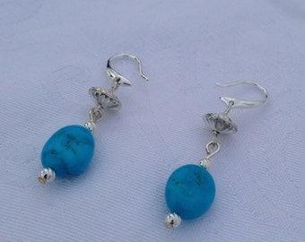 Morenci turquoise earrings, sterling silver, hogan beads, native american style, southwest jewelry, elegant drop earrings, fishhook earwires