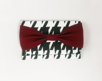 Houndstooth Wallet Business Card Holder Bow Maroon Checkered Crimson Accessory credit card case black white snap slim wallet simple mini