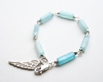 Angel Wing Bracelet, Blue Bracelet, Silver Bracelet