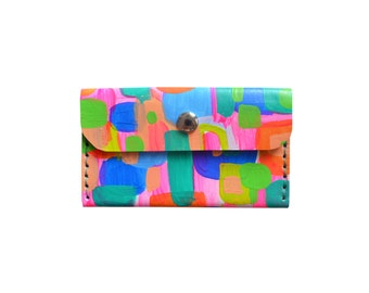 Modern Art Leather Wallet, Neon Coin Purse, Rainbow Pattern Wallet, Small Bag, Abstract Art Bag, Leather Wallet, Business Card Holder