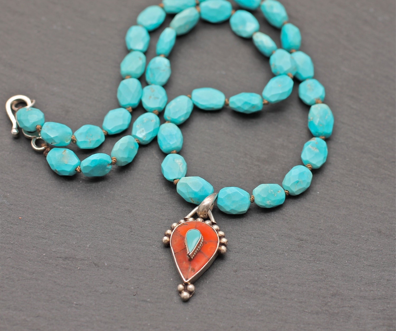 turquoise necklace coral necklace blue necklace