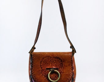 Hand Tooled Floral Design Leather Purse