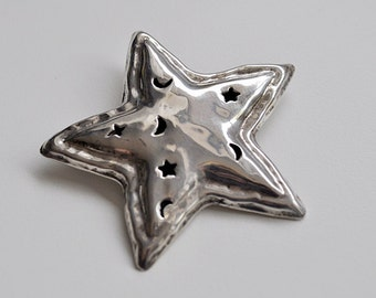 Vintage Sterling Silver Star Brooch Taxco Mexico