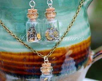 Steampunk Time In A Bottle Necklace and Earring Set