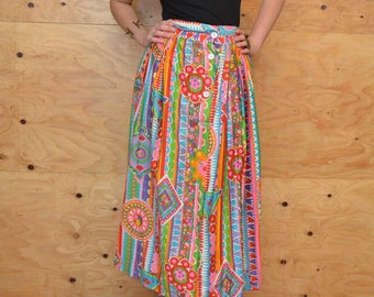 Vintage 60's Skirt Maxi In Rainbow Of colors With Bold Striped Floral Print SZ S/M