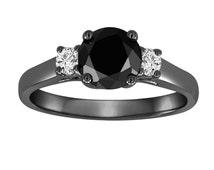 Black & White Diamond Three Stone Engagement Ring Vintage Style 14K Black Gold 1.25 Carat Certified Handmade