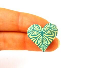 Smokey Teal Heart Brooch, Mini, Small, Polymer Clay, Millefiori Wearable Art, Supremily Jewellery