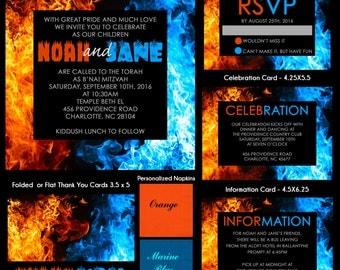 Fire and Ice B'nai Mitzvah Invitation