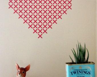 red cross stitch wall decal-heart wall art , wall sticker houseware crossstitch