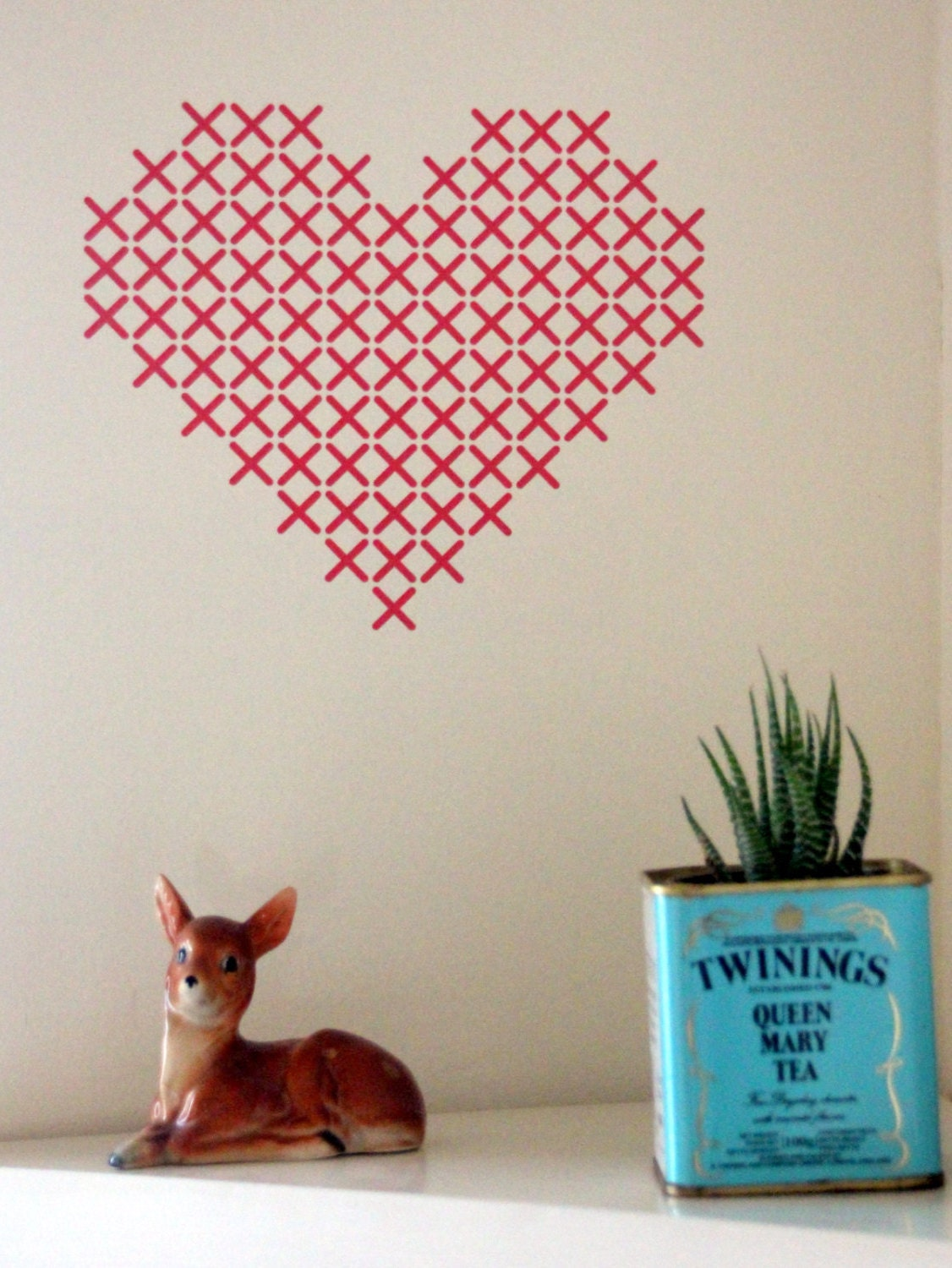Red cross stitch wall decal heart wall art wall by yaelyaniv for Cross stitch wall mural