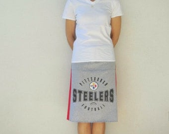 Pittsburgh Steelers T-Shirt Skirt Women's Skirt Red Gray Recycled Tee Skirt Upcycled Drawstring Straight Knee Length Cotton Summer ohzie