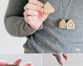 Wooden Jewelry, Wood House Necklace, yellow, Housewarming, Eco Friendly Jewelry, Casual Jewelry, Home is Where the Heart Is, long necklace.