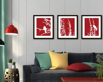 Birds and Branches Prints - Set of 3 Prints - Birds on Branches Wall Art - Birds On Tree Triptych - Multi Panel Wall Art - Red and White Art