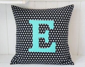 Monogrammed Pillow cover, 20x20, white crosses on black, any letter available