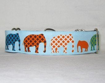 Elephant Walk Martingale Dog Collar - 1.5 Inch - fun cute tribal blue orange green baby wildlife