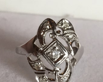 Beautiful 1920s Diamond Shield Ring