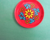 Set of 6 Vintage Red Floral Patterned Tin Coasters Made in Brazil
