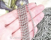 Beaded Ball Chain, Stainless Steel, 3.2mm, with Connectors, Hypoallergenic, Non Tarnish, Lot Size 5 to 30 feet, #1916 A